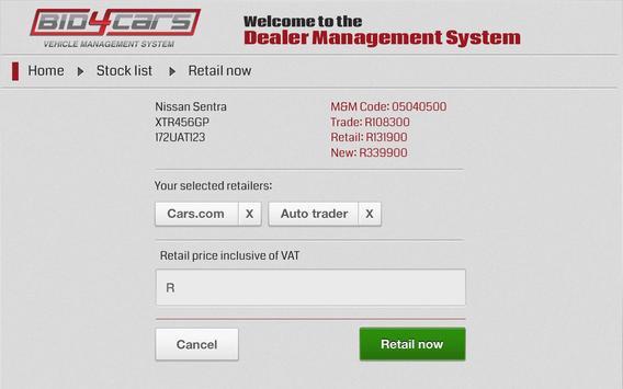 Bid4Cars VMS screenshot 2