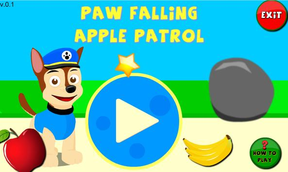 Twin Paw Puppy Falling Apple poster