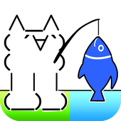 Manga cat fishing icon