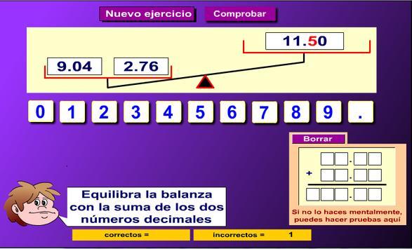 Suma  números decimales poster