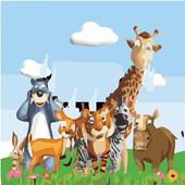 puzzle cartoon animals icon