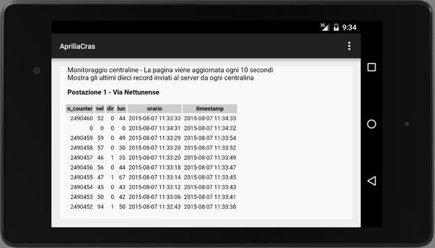 Cras centraline screenshot 2