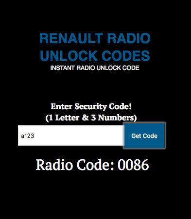 Renault Radio Codes Unlock Generator Free for Android - APK