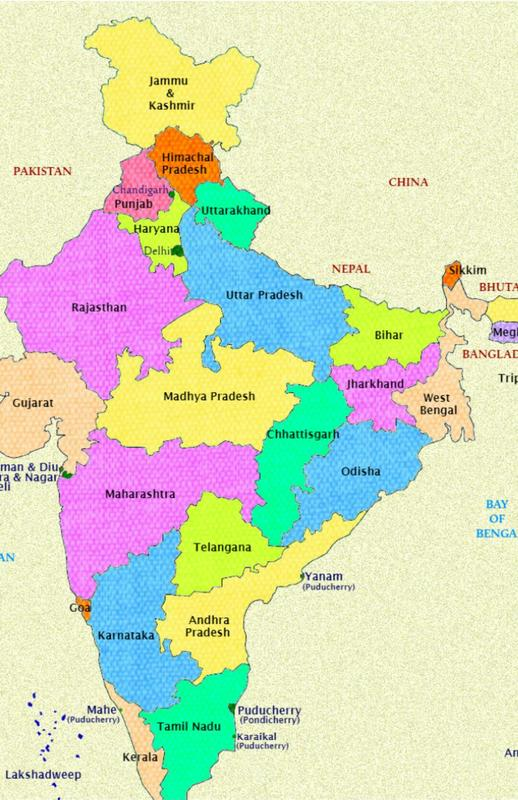 Free download india map cities states and capitals