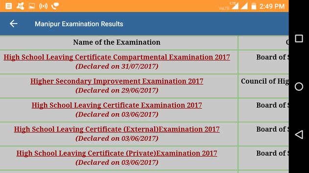 2018 Manipur Exam Results - All Results apk screenshot