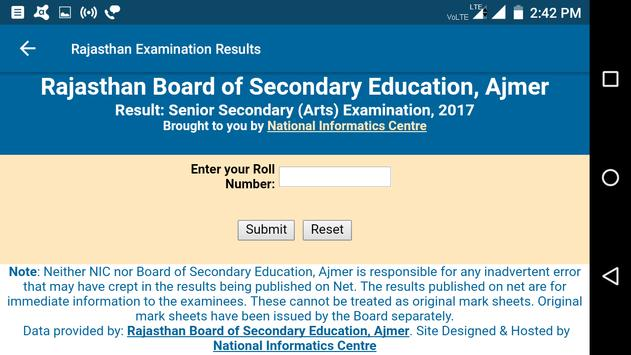 2018 Rajasthan Exam Results - All Examination apk screenshot