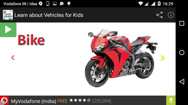 Learn about Vehicles for kids apk screenshot