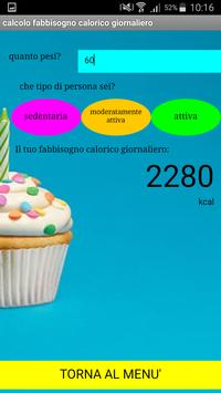 Calcolo fabbisogno calorico screenshot 1