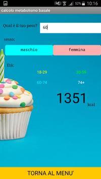Calcolo fabbisogno calorico screenshot 2