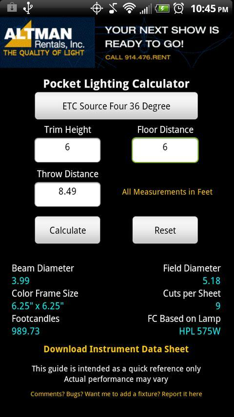Stage Lighting Beam Calculator For Android Apk