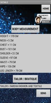 tailor body measurement apk screenshot