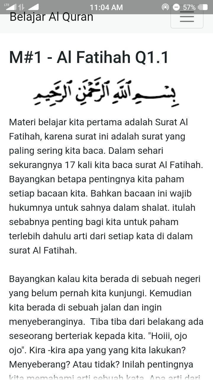 Arti Surat Al Fatihah Per Kata