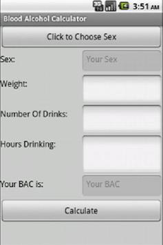 Blood Alcohol Calculator poster
