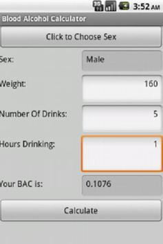 Blood Alcohol Calculator screenshot 1
