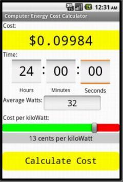 Computer Electric Cost Calc screenshot 1