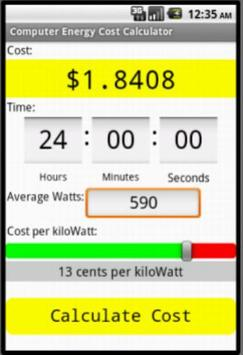Computer Electric Cost Calc screenshot 2