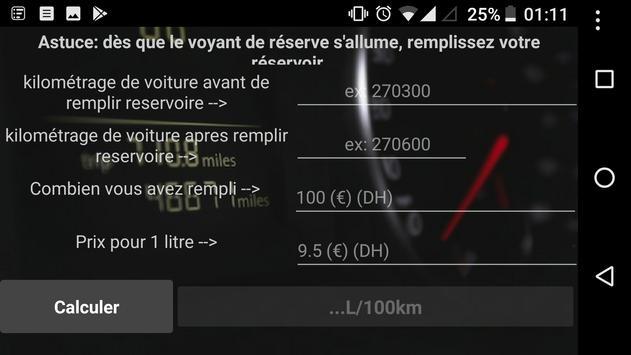 Voiture consommation L/100km screenshot 1
