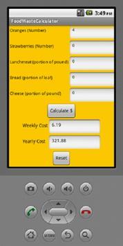 Food Waste Calculator apk screenshot