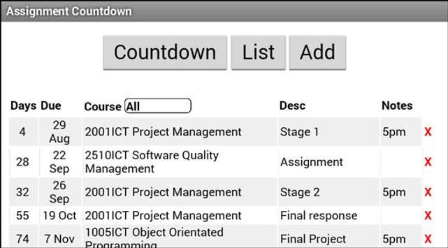 Assignment Countdown apk screenshot