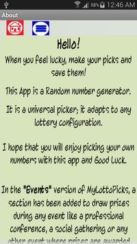 My Lotto Picks EVENTS apk screenshot