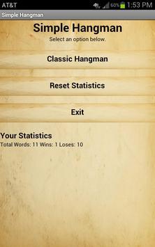Simple Hangman Free apk screenshot