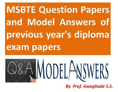 MSBTE Model Answers and Question Papers poster