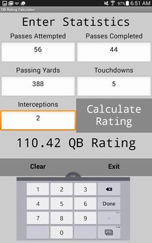 Quarterback Rating Calculator screenshot 1