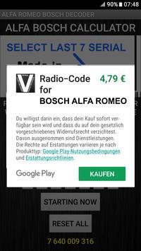 Bosch Alfa Romeo Radio Code Decoder screenshot 3