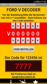 FORDV****** Serie Radio Code Decoder (DEUTSCH) screenshot 2