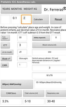 Pediatric calculator ICC & Anesthesia screenshot 1