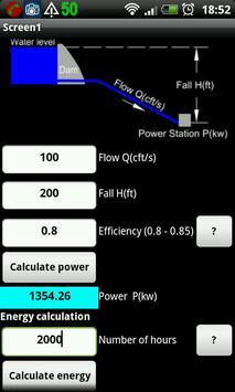 Hydropower calculator apk screenshot