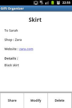 Gift Organizer Free apk screenshot