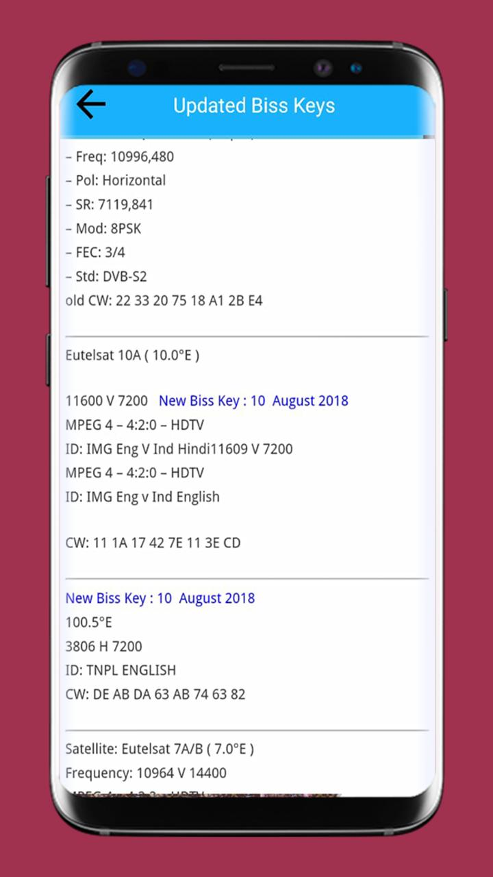 Satellite Frequency Biss key & PowerVU for Android - APK