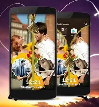 Couple Zipper Lock Screen apk screenshot