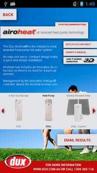Dux Hot Water Guide - Phone screenshot 2