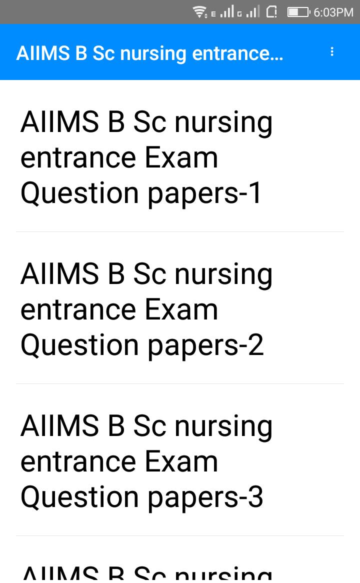 Previous Year AIIMS Bsc nursing Questions Papers for Android