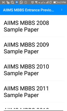 Previous Year AIIMS MBBS Entrance Questions Papers poster