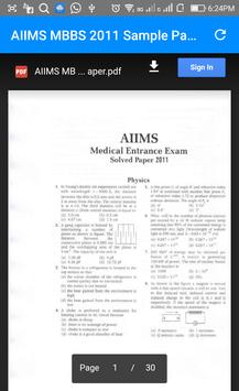 Previous Year AIIMS MBBS Entrance Questions Papers apk screenshot