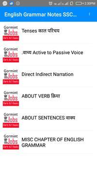 SSC Combined JHT अंग्रेज़ी व्याकरण Notes apk screenshot