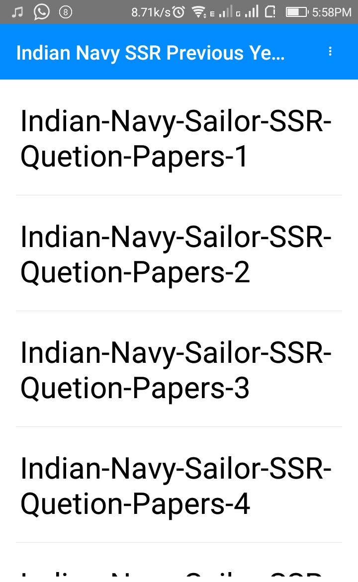 Indian Navy SSR Previous Year Question Papers for Android - APK Download