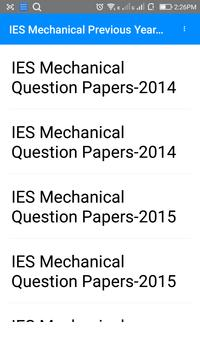 IES Mechnical Previous Year  Questions Papers apk screenshot