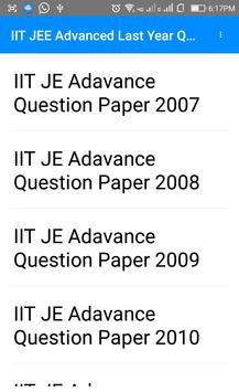 IIT JE Advance Last Year  Questions Papers apk screenshot