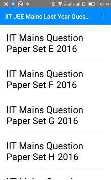 IIT Mains Previous Year Questions Papers apk screenshot