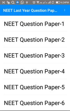Previous Year NEET Questions Papers apk screenshot