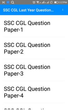 Last  Year SSC CGL Questions Papers apk screenshot