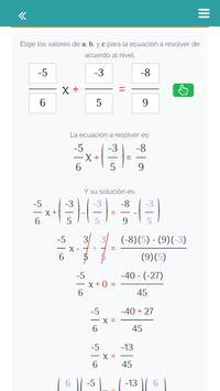 Ecuaciones de la forma ax+b=c apk screenshot