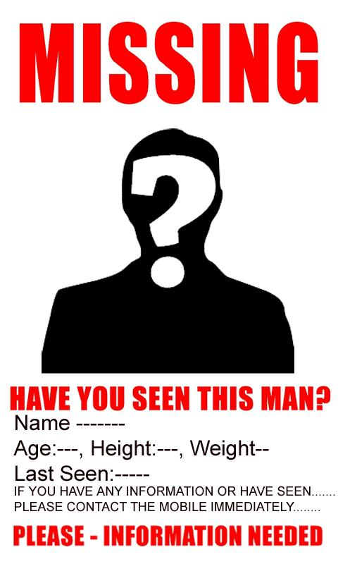 Missing person poster template download