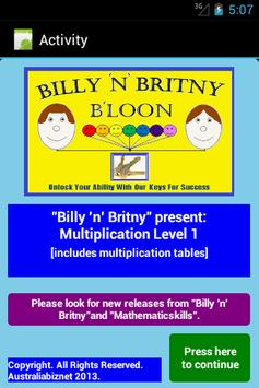 Multiplication Level 1 Free poster