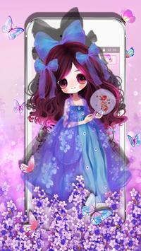 Purple Butterfly Girl Theme apk screenshot