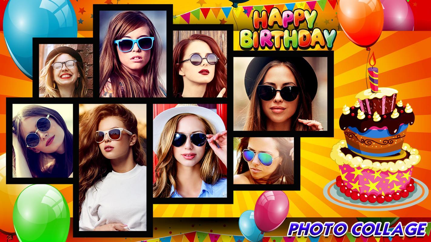 Birthday Collage Cake Status Photo Frame Plakat